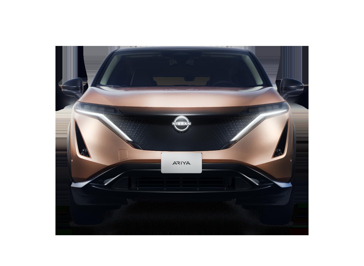 Nissan Ariya front med lygter tændt