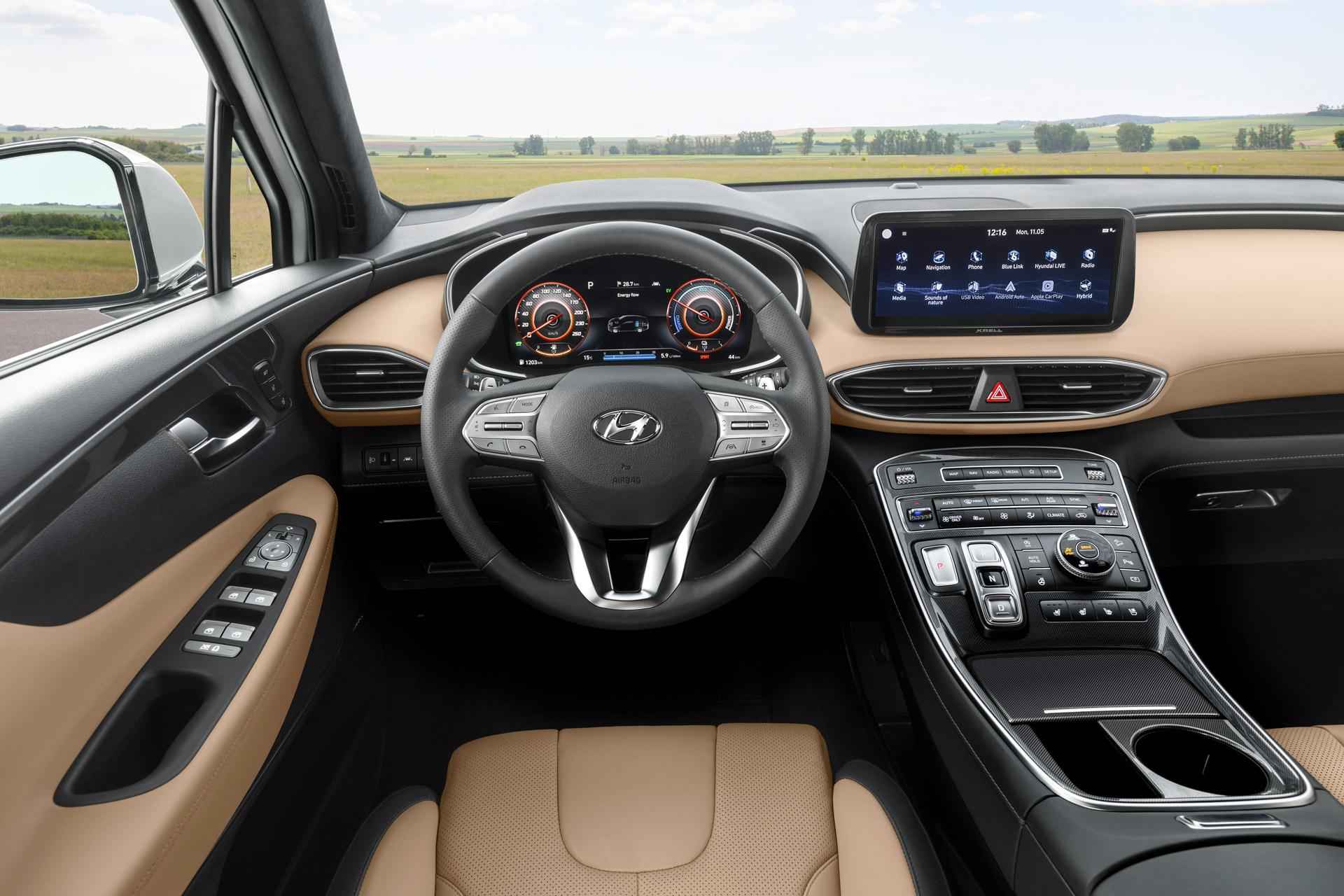 Hyundai Santa Fe interiøret ved forsædet