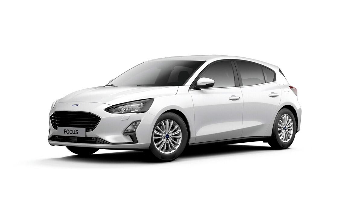 Ford Focus i farven FrozenWhite til privatleasing