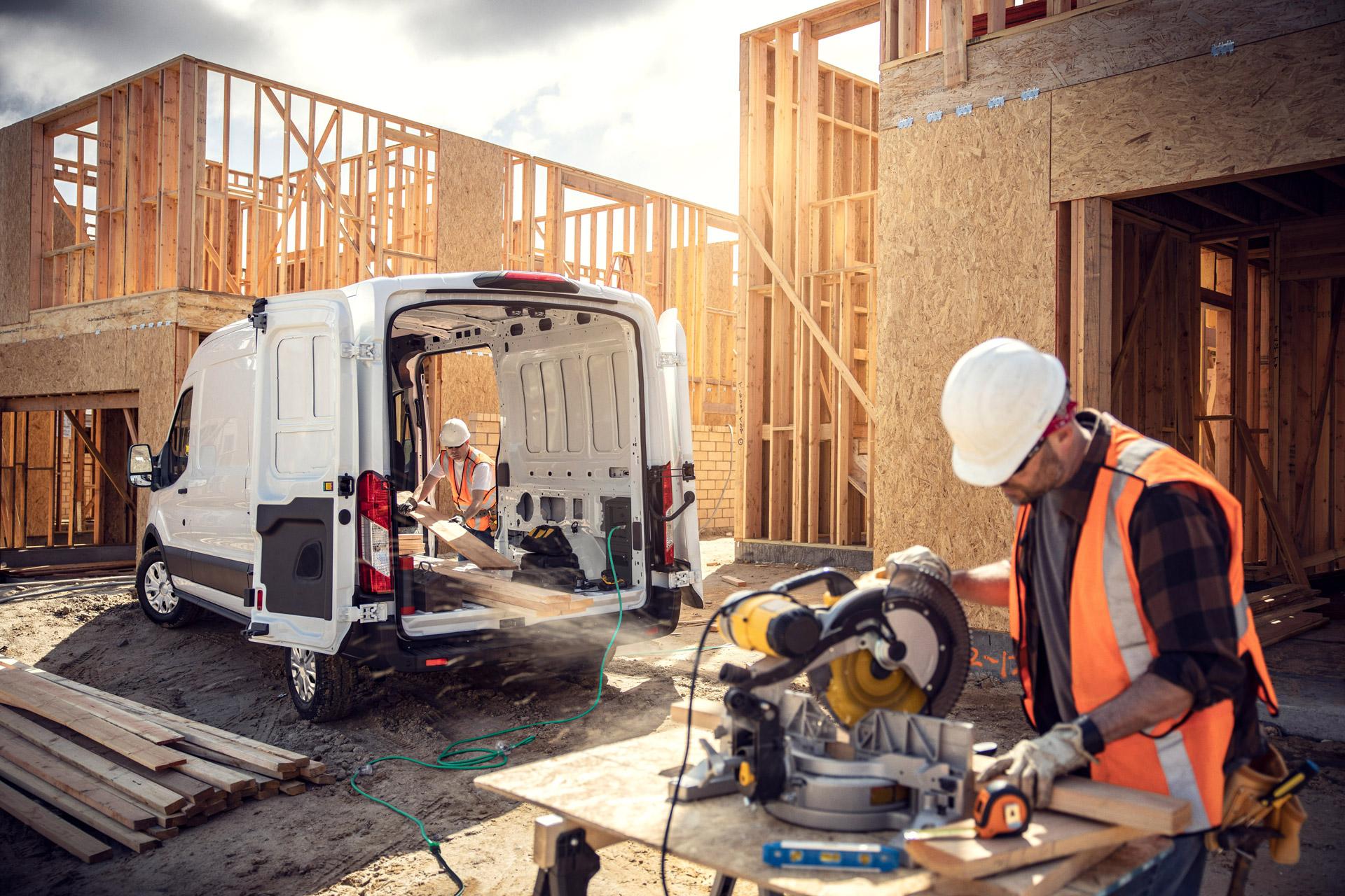 Ford E-Transit på byggepladsen